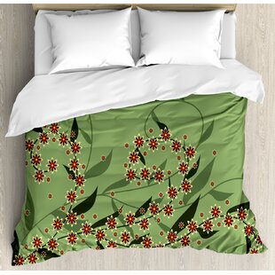 East Urban Home Retro Blooming Graphic Spring Flowers on Curvy Branches Botanical Garden Theme Duvet Set