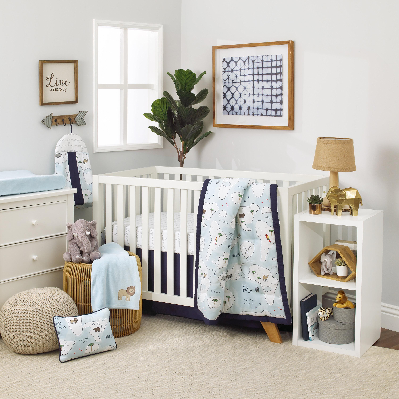 World Map Sheet Set.Carter S Dreamer Little Explorer World Map 8 Piece Crib Bedding Set