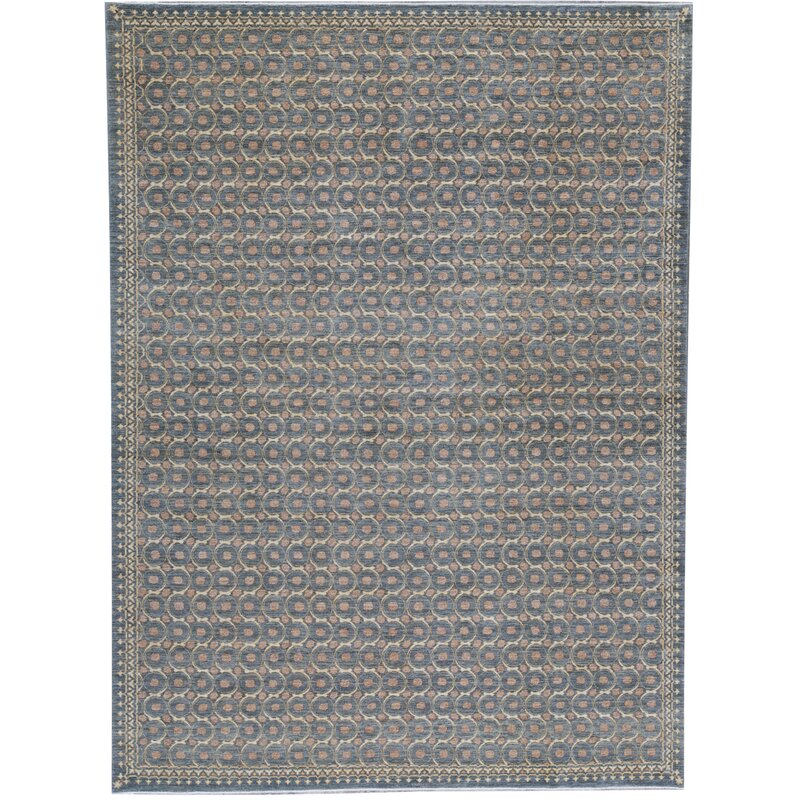 Bokara Rug Co Inc One Of A Kind Ziegler Hand Knotted 10 1 X 13 7 Wool Navy Area Rug Wayfair