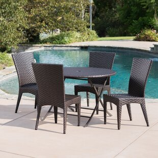 Latitude Run Huth Outdoor Wicker 5 Piece Dining Set
