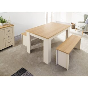 Cavin Dining Set With 2 Chair And 2 Benches By Brambly Cottage