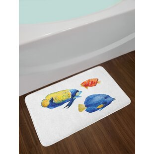 Ambesonne Fish Bath Mat by, Tropical Aquarium Life Discus Fish and Goldfish in Different Patterns, Plush Bathroom Decor Mat with Non Slip Backing, 29.5 W X 17.5 W Inches, Azure Blue Yellow Scarlet