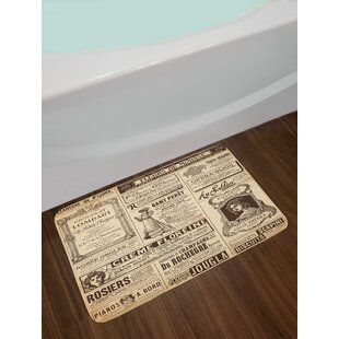 Paris Old Historic Newspaper Journal French Paper Lettering Art Non-Slip Plush Bath Rug
