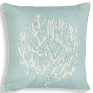 Chamberlain Aqua Coral Reef Linen Throw Pillow