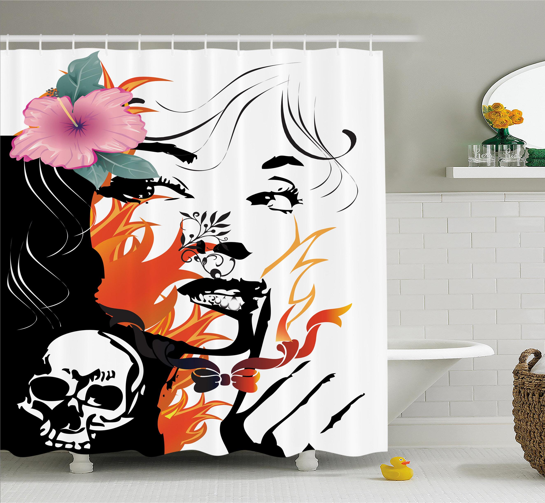 Skull Shower Curtain Evil Mexican Sugar Print for Bathroom