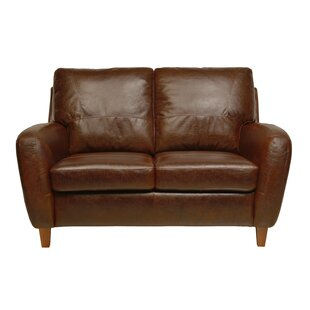 Shop Oaks Leather Loveseat by Loon Peak