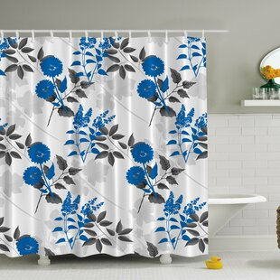 Flower Print Single Shower Curtain