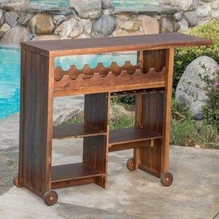 Loon Peak Valier Outdoor Wood Bar Cart