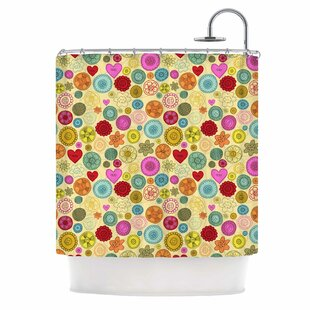 Vintage Buttons by Jane Smith Polkadot Single Shower Curtain