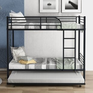 Moskowitz Metal Twin over Twin Bunk Bed with Trundle by Harriet Bee
