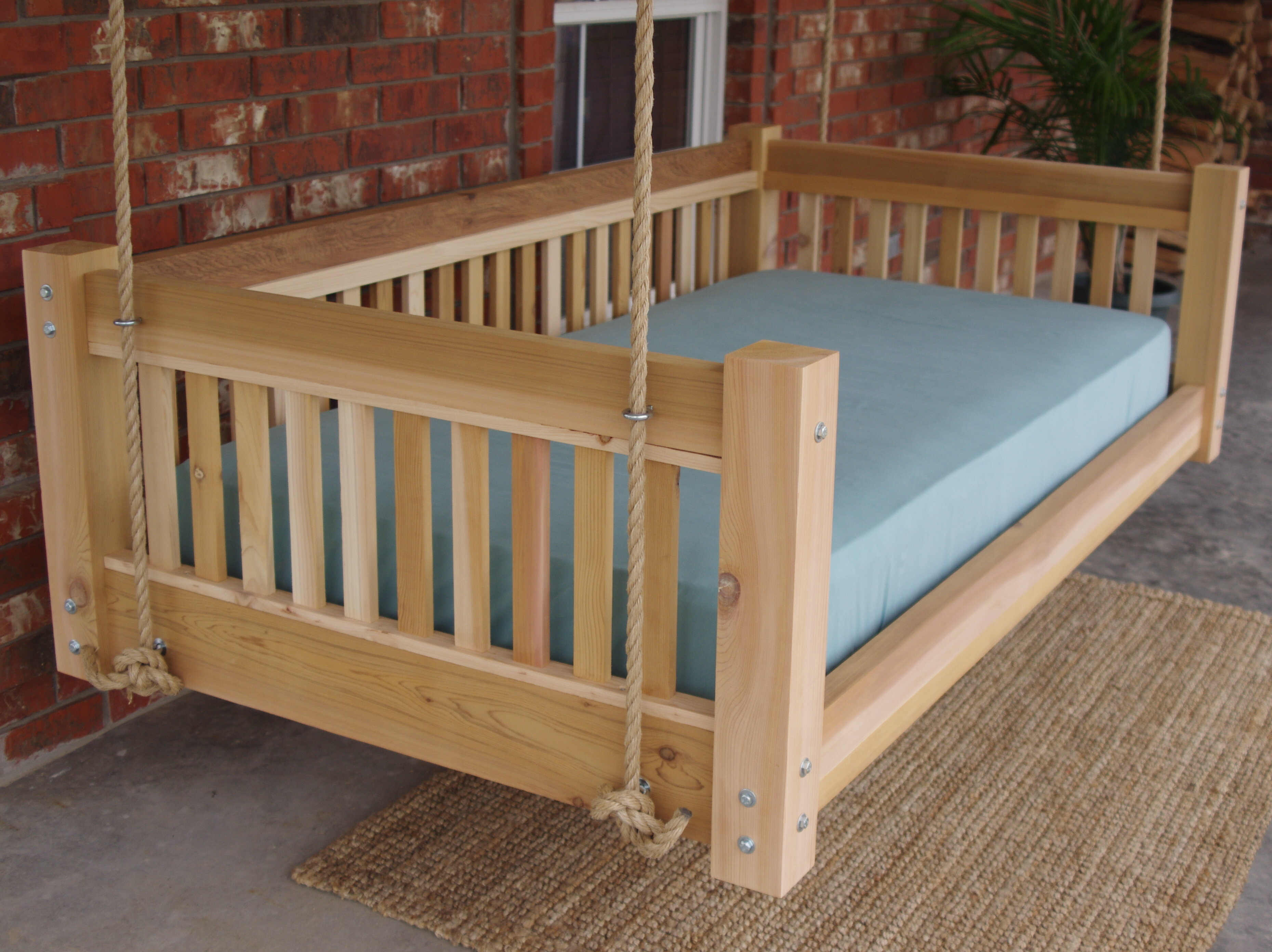 Picture of: Millwood Pines Longbridge Cedar Hanging Daybed Rope Porch Swing