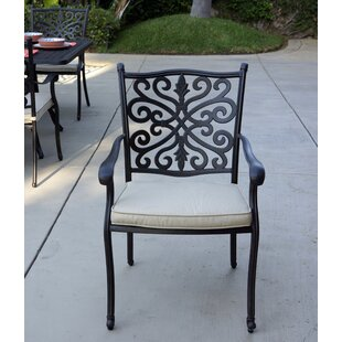 Belton Stacking Patio Dining Chair with Cushion by Fleur De Lis Living