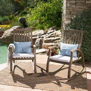 Bungalow Rose Morais Outdoor Rocking Chair with Cushions (Set of 2)