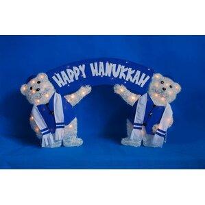Lighted Tinsel Polar Bears With Happy Hanukkah Sign Decoration