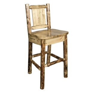 Southborough Rustic 24 Solid Wood Full Back Bar Stool Loon Peak