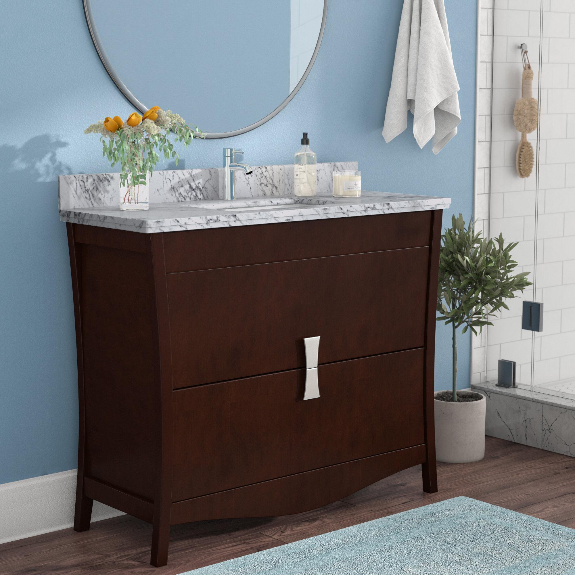 Royalpurplebathkitchen Cataldo Floor Mount 48 Single Bathroom Vanity Set With Hole Faucet Wayfair