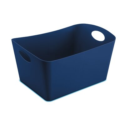 Turn on the Brights Rectangular Plastic Storage Bin Size: 9.3 H x 19 W x 12.2 D, Color: Navy