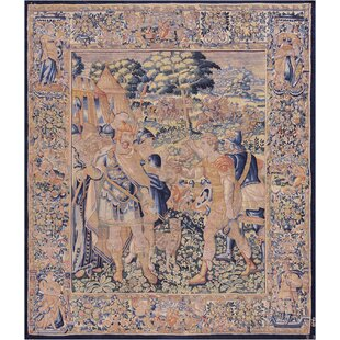 One-of-a-Kind Antique Brussels Historical Tapestry Handwoven Wool/Silk Beige/Blue Indoor Area Rug By Mansour