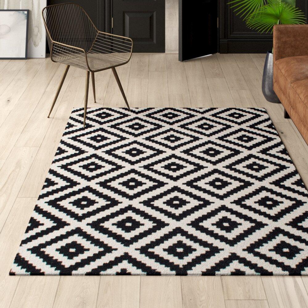 Mercury Row Stach Geometric Handmade Tufted Wool Black Cream Area Rug Reviews Wayfair