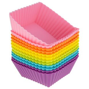 Silicone Square Reusable Cupcake and Muffin Baking Cup (Set of 12)