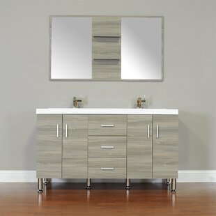 Truby 56 Double Modern Bathroom Vanity Set with Mirror By Wade Logan