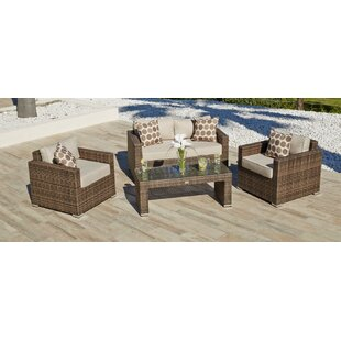 Georgiana 4 Piece Rattan Sofa Set with Cushions by Longshore Tides