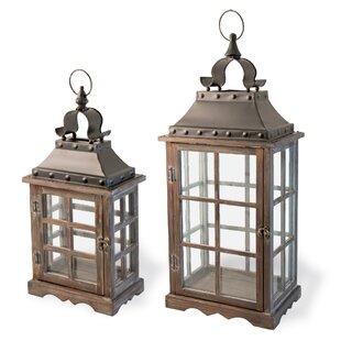 2 Piece Wood Lantern Set by Bloomsbury Market