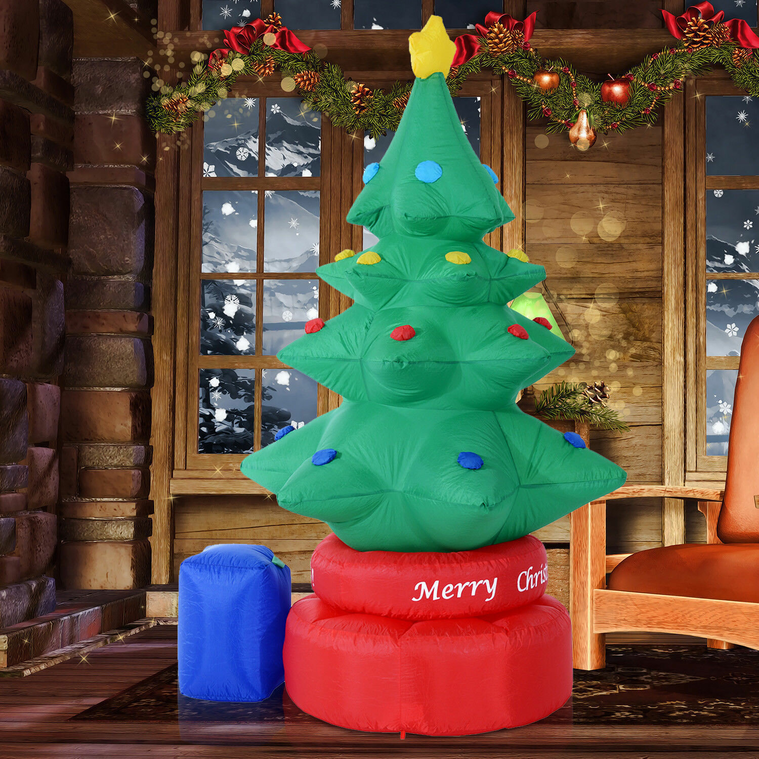 The Holiday Aisle Rotating Animated Christmas Tree LED Lighted Outdoor Air Blown Inflatable & Reviews | Wayfair