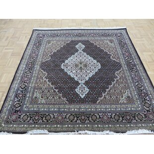 One-of-a-Kind Beaton Persian Tabriz Square Hand-Knotted Black Area Rug Isabelline