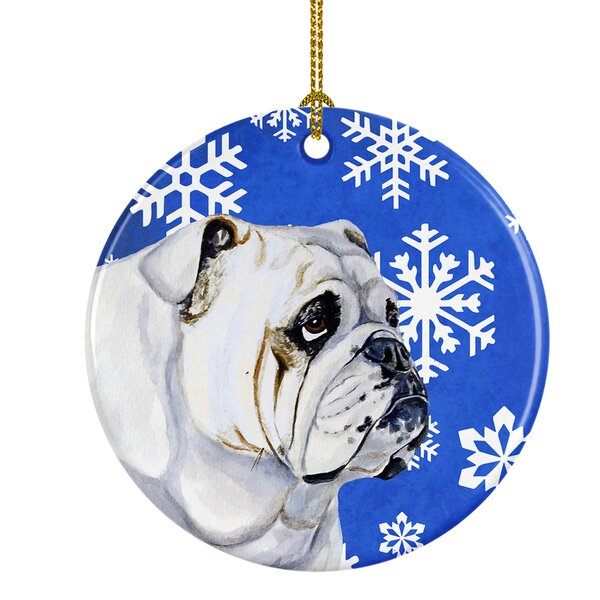 The Holiday Aisle Bulldog English Winter Snowflake Holiday Ceramic Hanging Figurine Ornament Wayfair