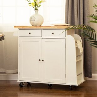 Courtland Kitchen Island with Rubberwood Top August Grove