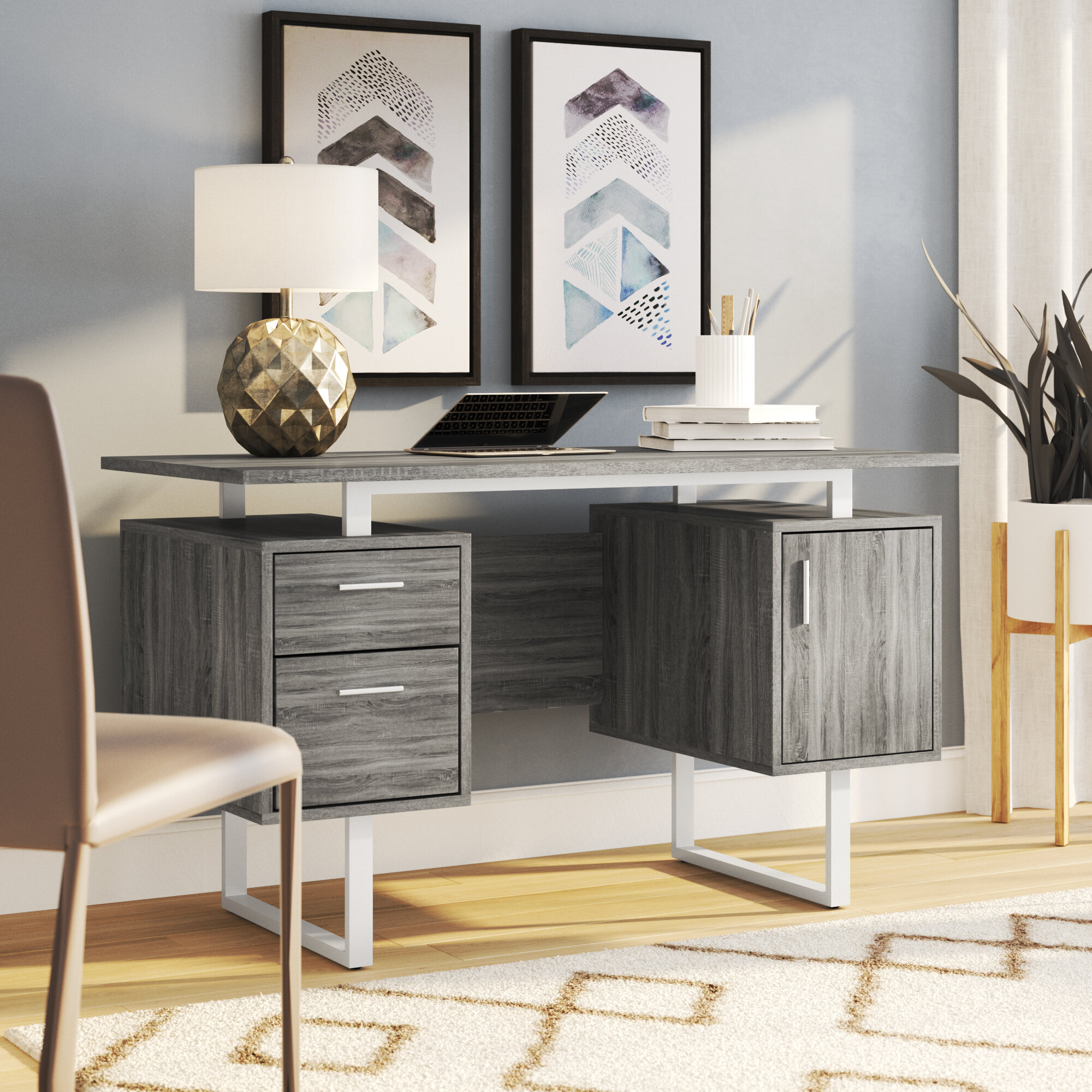 17 Gray Home Office Furniture Designs Ideas Plans: Ivy Bronx Conlon Modern Office Desk