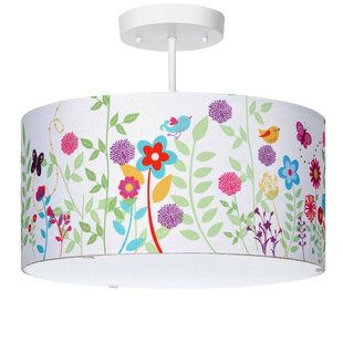 Cinderford Flowers and Birdies 3-Light Semi Flush Mount by Harriet Bee
