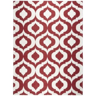 Rio Power Loom Polyester Red/White Indoor/Outdoor Area Rug