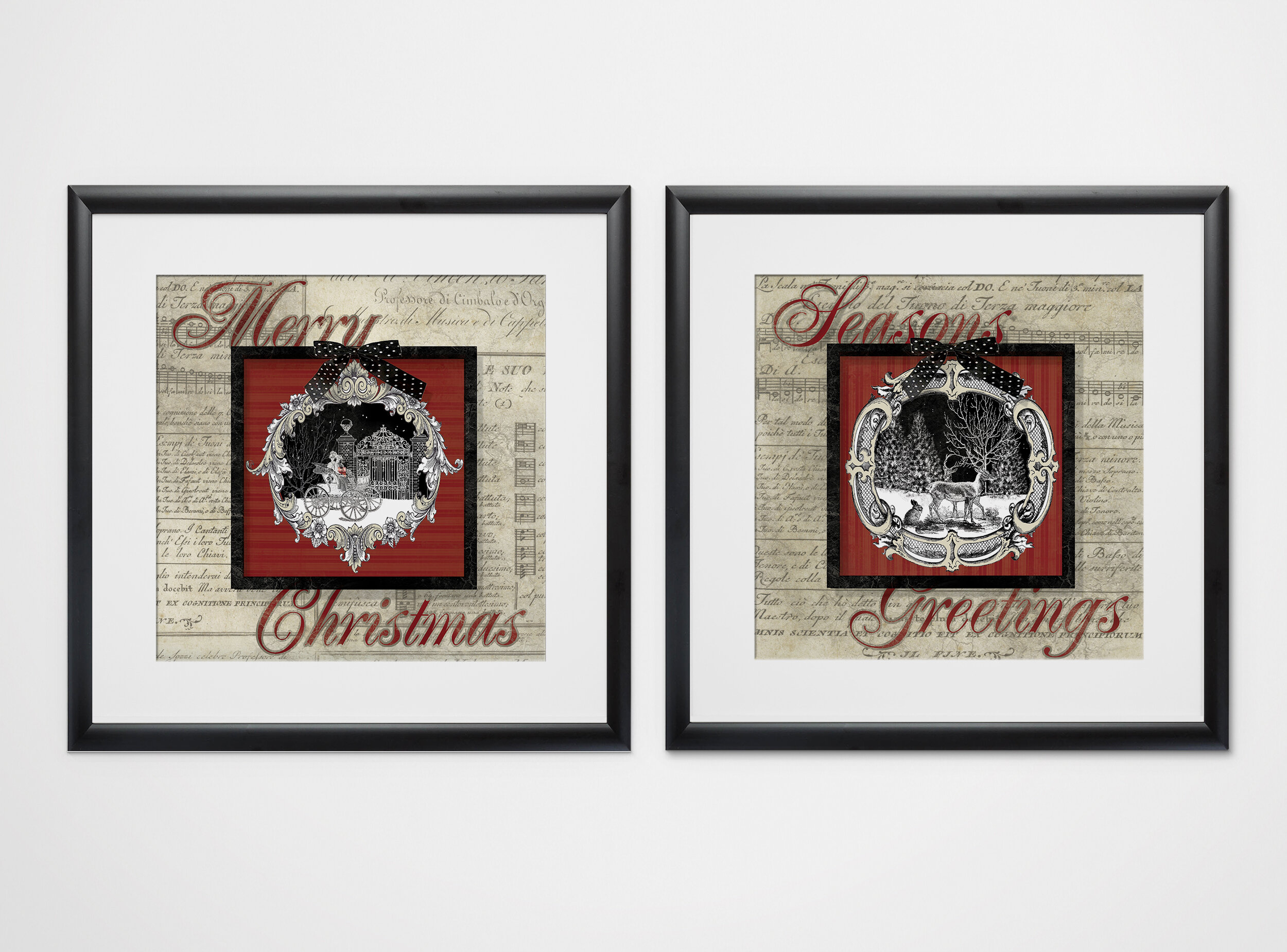 The Holiday Aisle Vintage Christmas 2 Piece Framed Graphic Art Print Set Wayfair