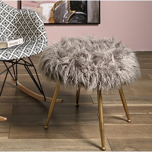 Charmant Rotella Fuzzy Accent Stool