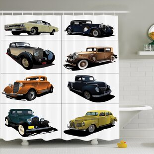 Vintage Collage of Fifties Car Shower Curtain Set