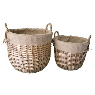 Deals Price 2 Piece Linen Lined Storage Wicker Laundry Set