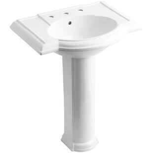 Devonshire® Ceramic 28 Pedestal Bathroom Sink with Overflow Kohler