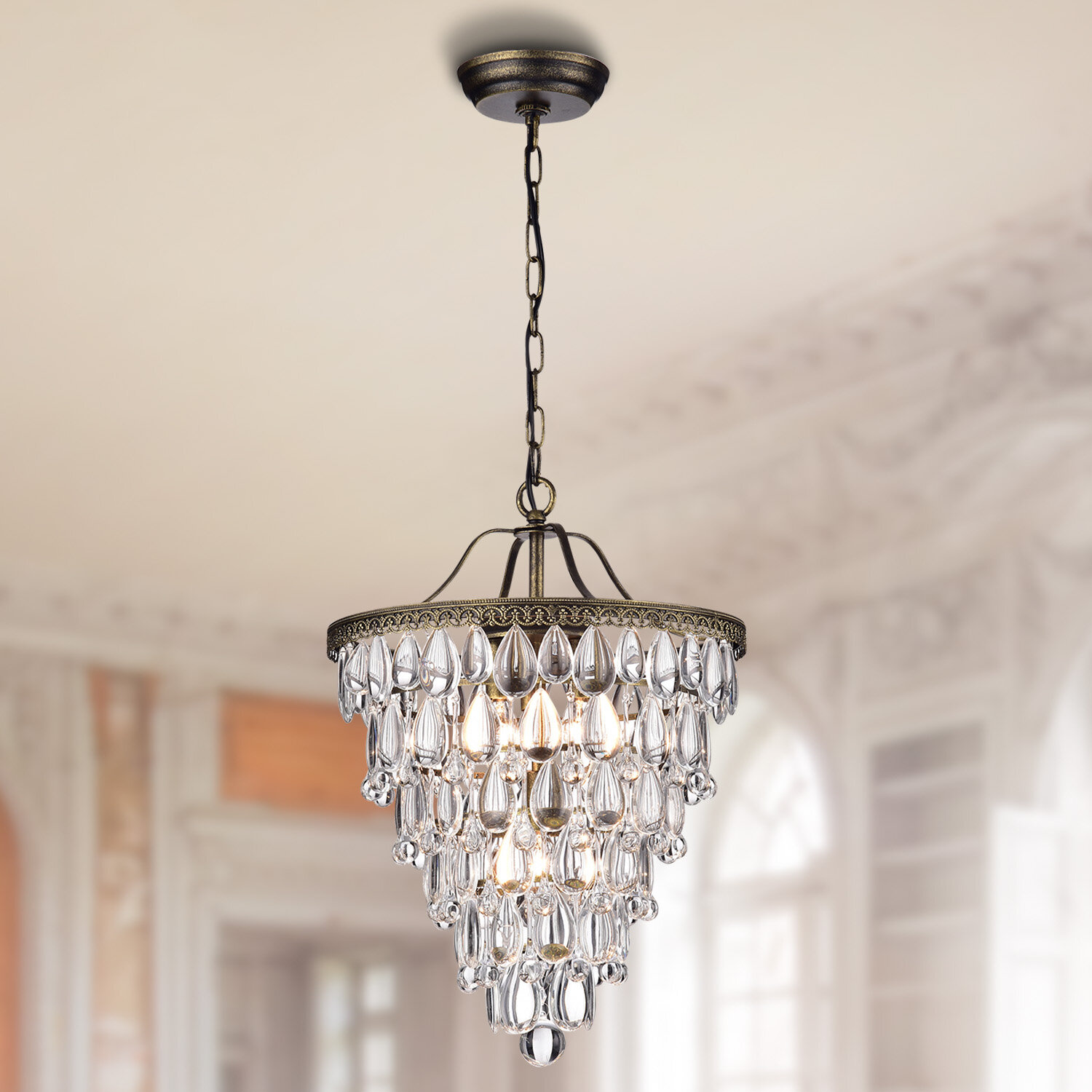 recycled size glass art bead full chandelier blown