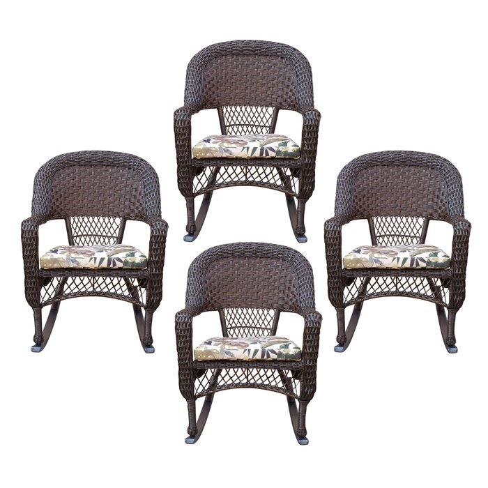 Marvelous Belwood Resin Wicker Rocking Chair With Floral Cushions Inzonedesignstudio Interior Chair Design Inzonedesignstudiocom