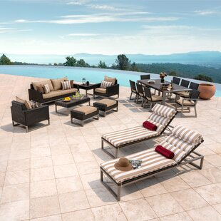Corrigan Studio Gary 18 Piece Rattan Sunbrella Complete Patio Set with Cushions