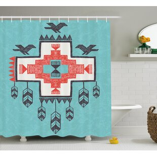 Icons Birds Native American Decor Single Shower Curtain