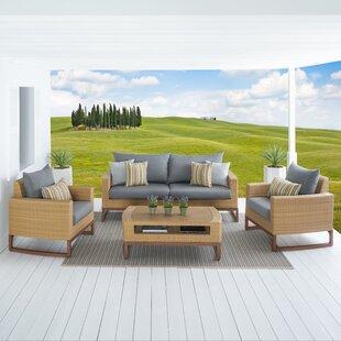 Addison 4 Piece Sunbrella Sofa Set with Cushions by Bayou Breeze
