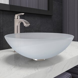 Searching for Tempered Glass Circular Vessel Bathroom Sink with Faucet ByVIGO