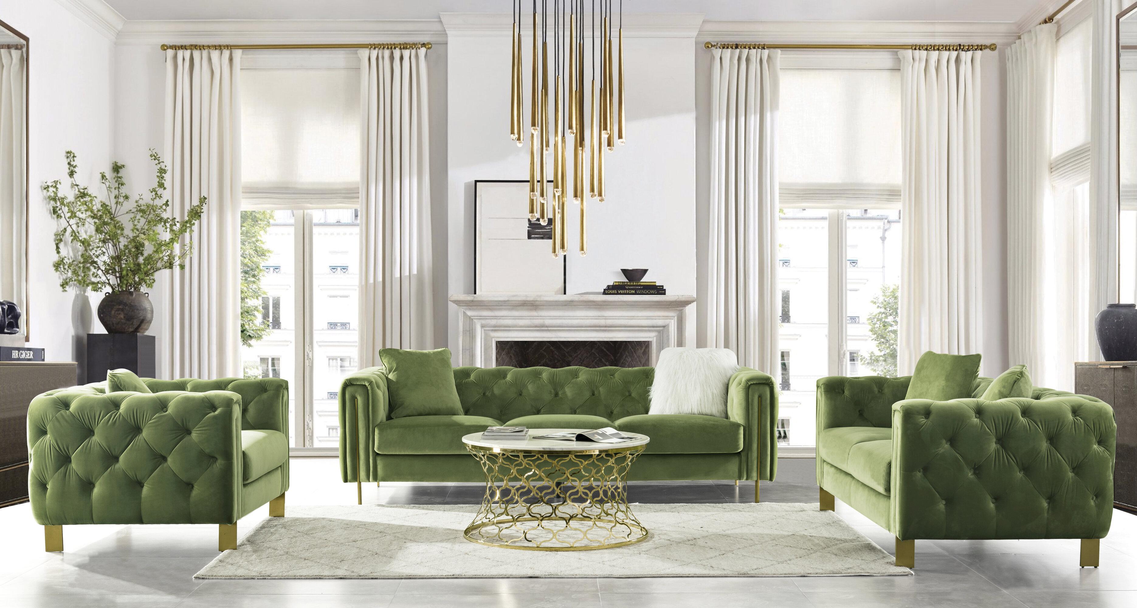 Acanva Chesterfield Vintage Tufted Velvet 9 Piece Living Room Set