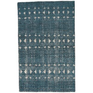 Affordable Price Marquetta Hand-Knotted Wool Teal/White Area Rug By Gracie Oaks