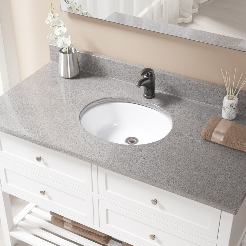 Vitreous China Oval Undermount Bathroom Sink With Overflow And Drain Embly