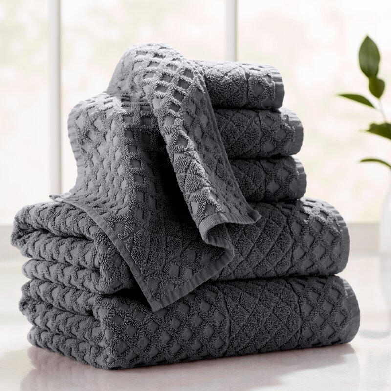 Flanagan 6-Piece Diamond Turkish Cotton Towel Set
