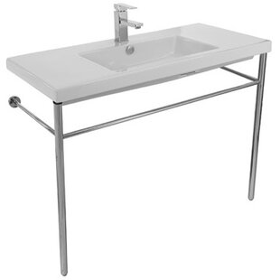 Top Reviews Cangas Ceramic 40 Console Bathroom Sink with Overflow ByCeramica Tecla by Nameeks